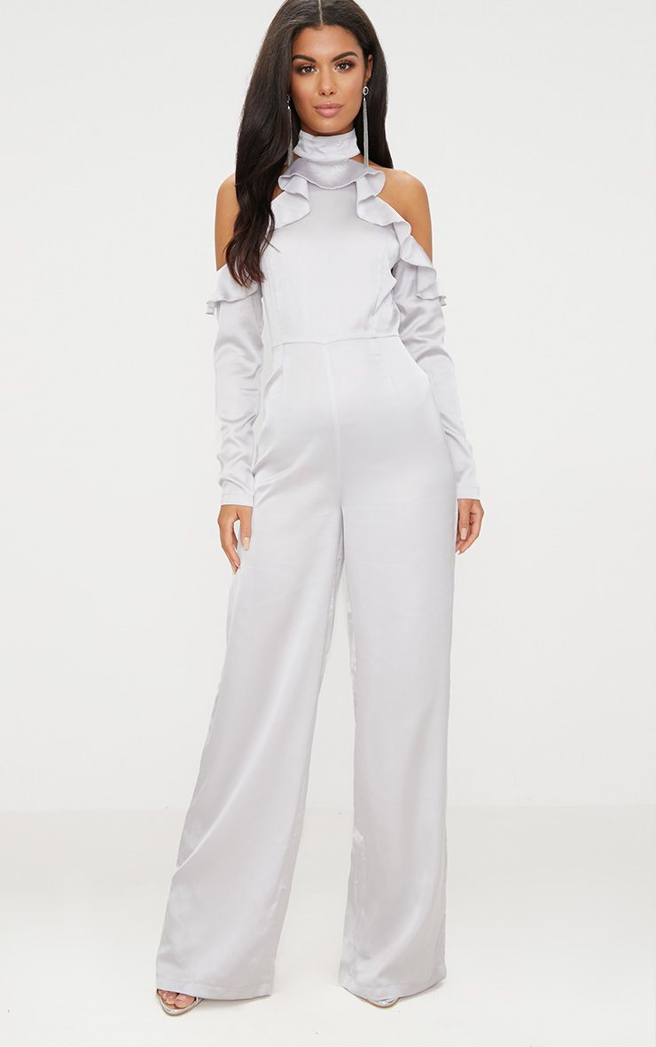 Grey Satin Cold Shoulder Frill Jumpsuit