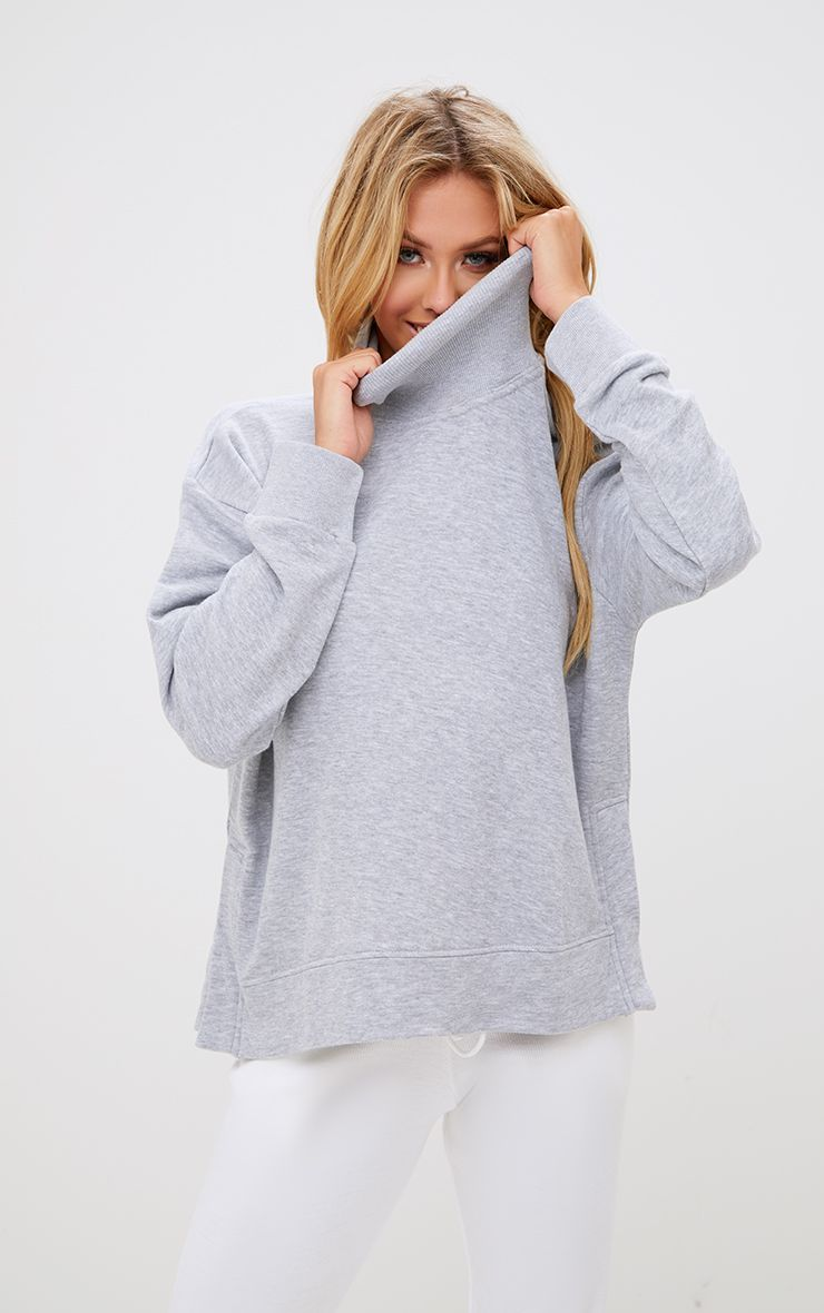 Grey High Neck Oversized Longsleeve Sweater