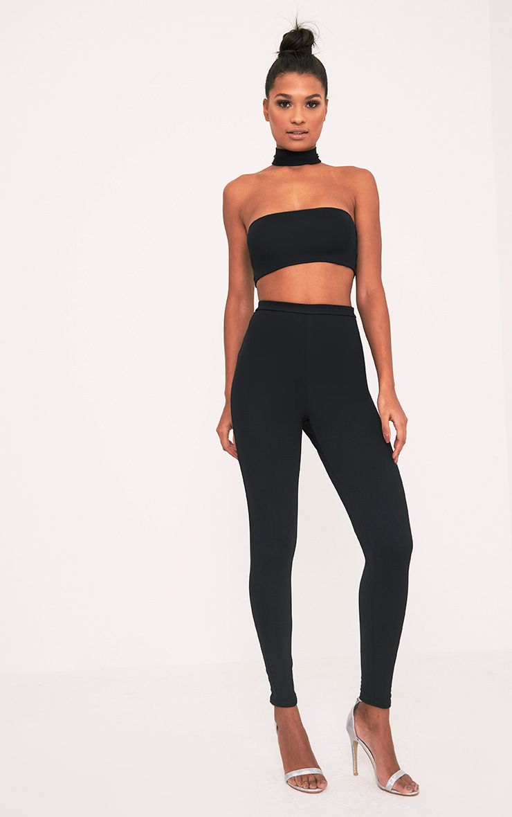 Myleena Black Crepe Choker Zip Back Jumpsuit