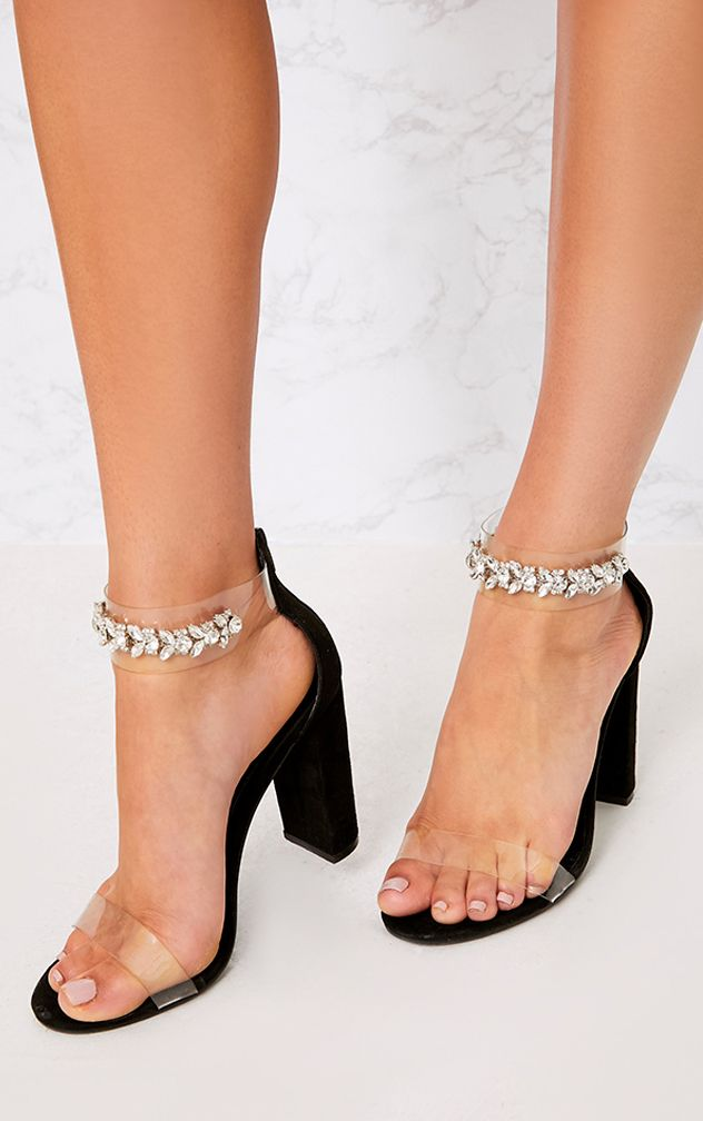 Kelle Black Jewelled Strap Heeled Sandals