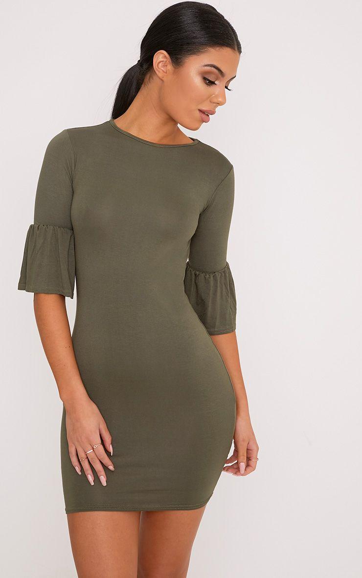 Ashlyn Khaki Frill Sleeve Bodycon Dress