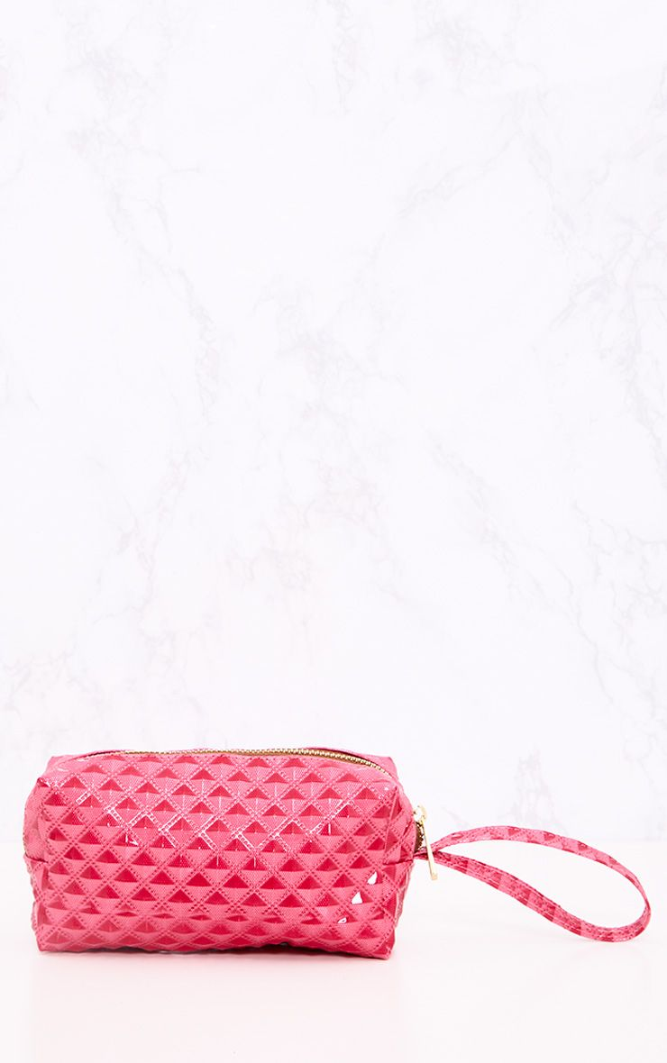 Hot Pink Embossed Make Up Bag