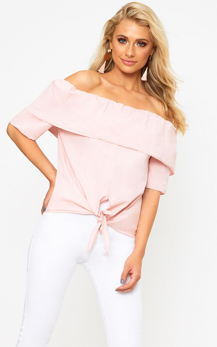 Pink Bardot Shortsleeve Tie Front Shirt