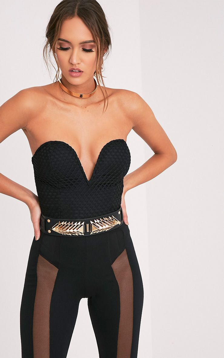 Nell Black Ornate Stud Waist Belt