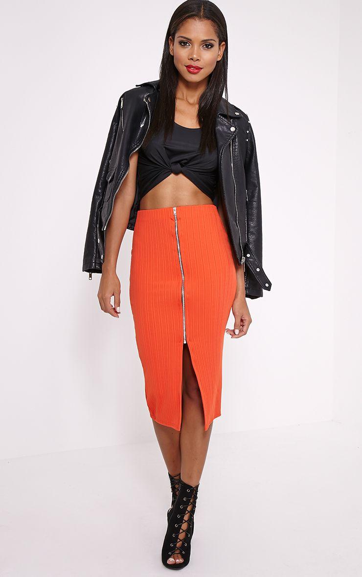 Kaya Orange Ribbed Zip Front Midi Skirt 1