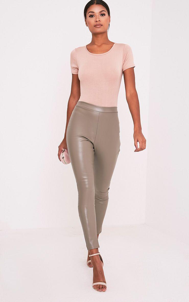 Taryn Taupe Faux Leather Leggings 1