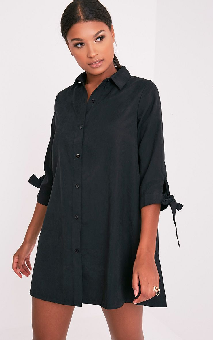 Maysia Black Cuff Detail Shirt Dress 1