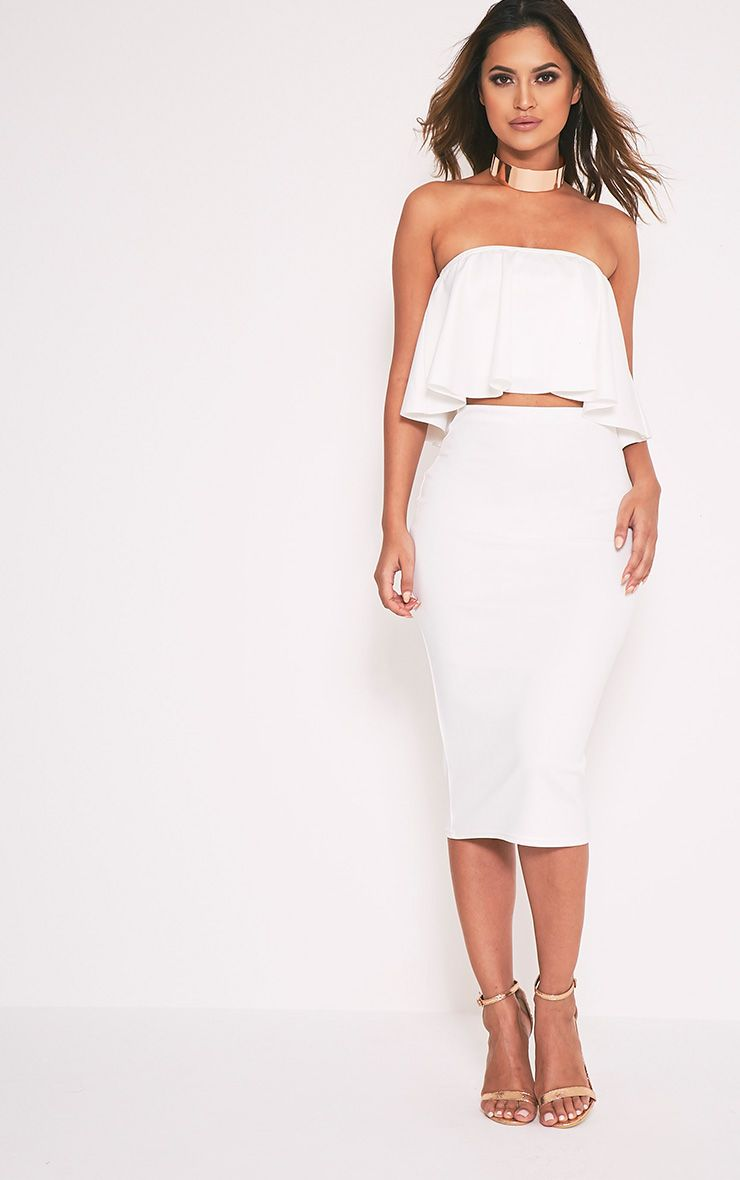 Fillipa Cream Scuba Midi Skirt