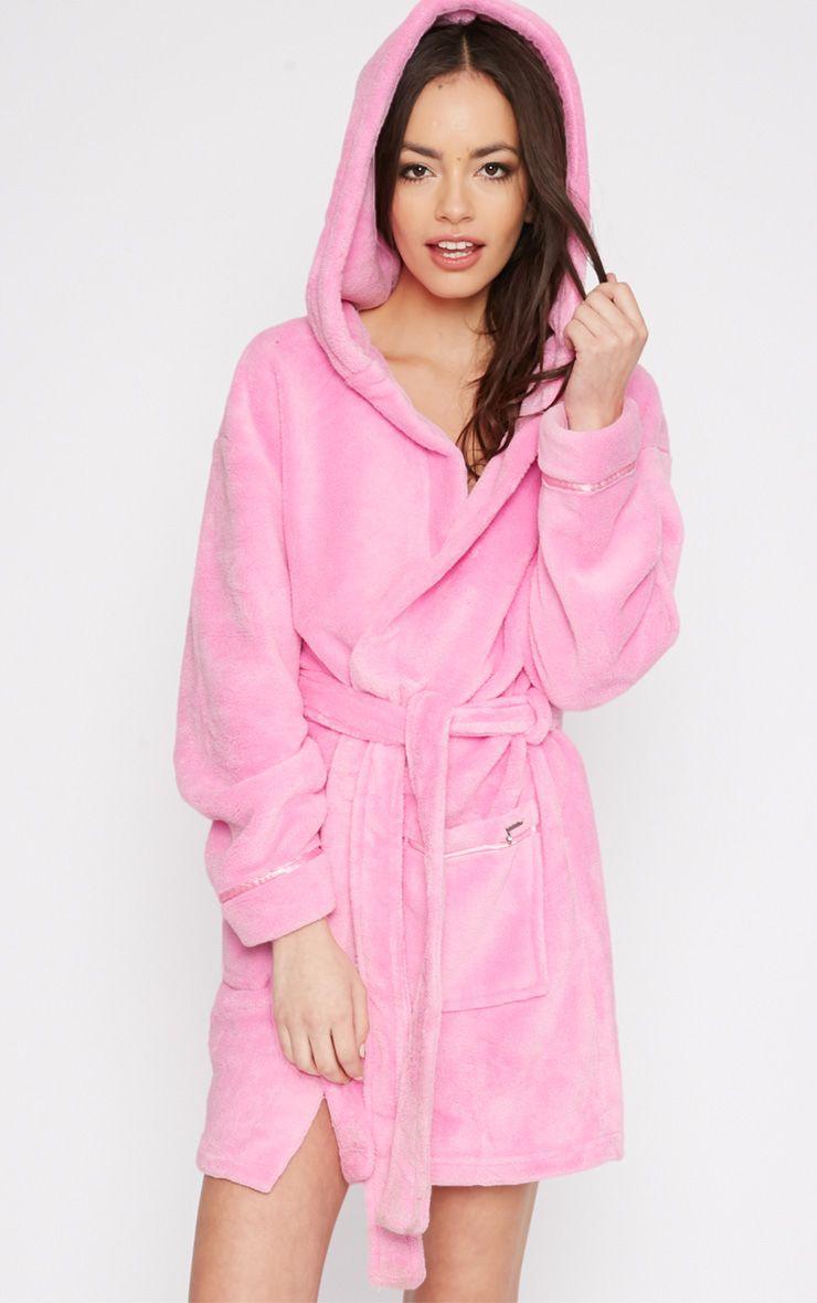 Erin Pink Fleece Dressing Gown  1