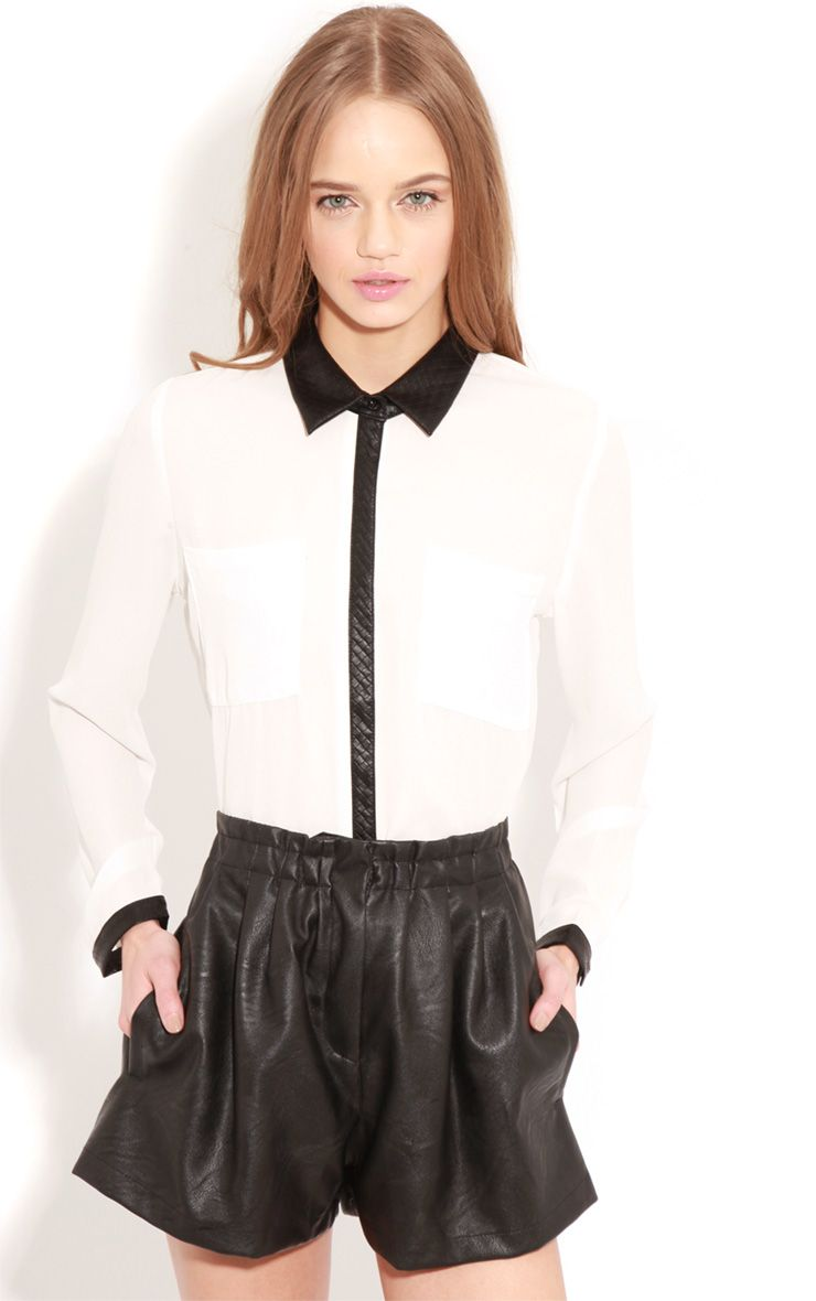 Frances White Chiffon Blouse With Faux Leather Collar 1