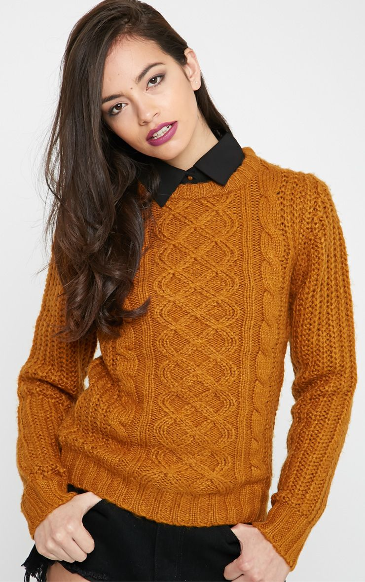 Jayce Mustard Cable Knit Jumper  1