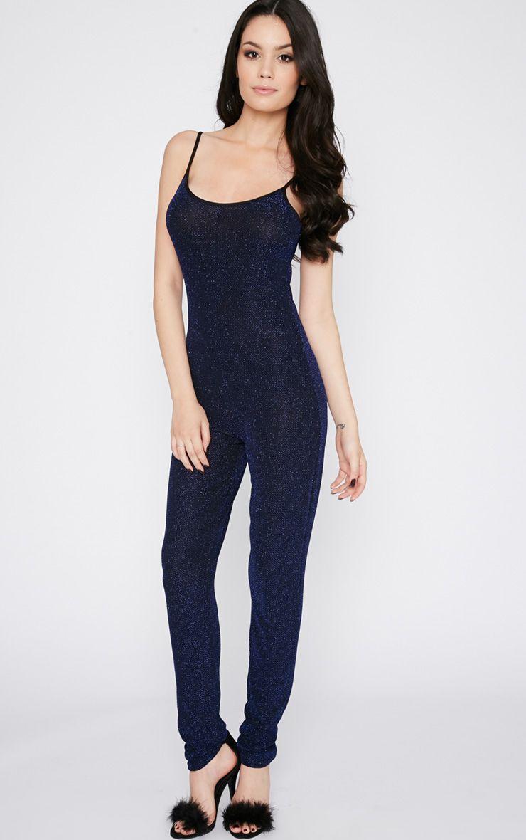 Adila Blue Glitter Jumpsuit  1