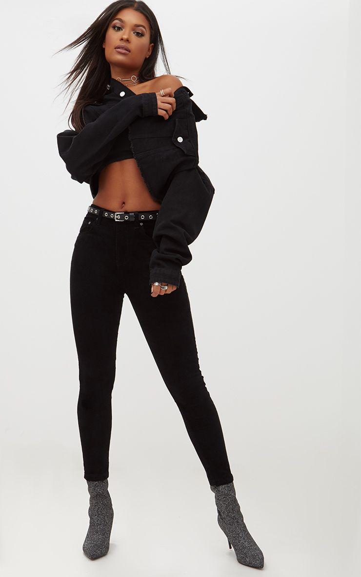 Black Velvet High Waisted Skinny Jean