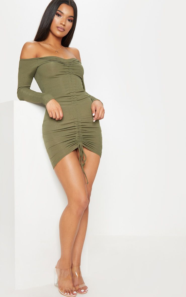 fc4ac9c9751c khaki-ribbed-long-sleeve-bardot-ruched-bodycon-dress by