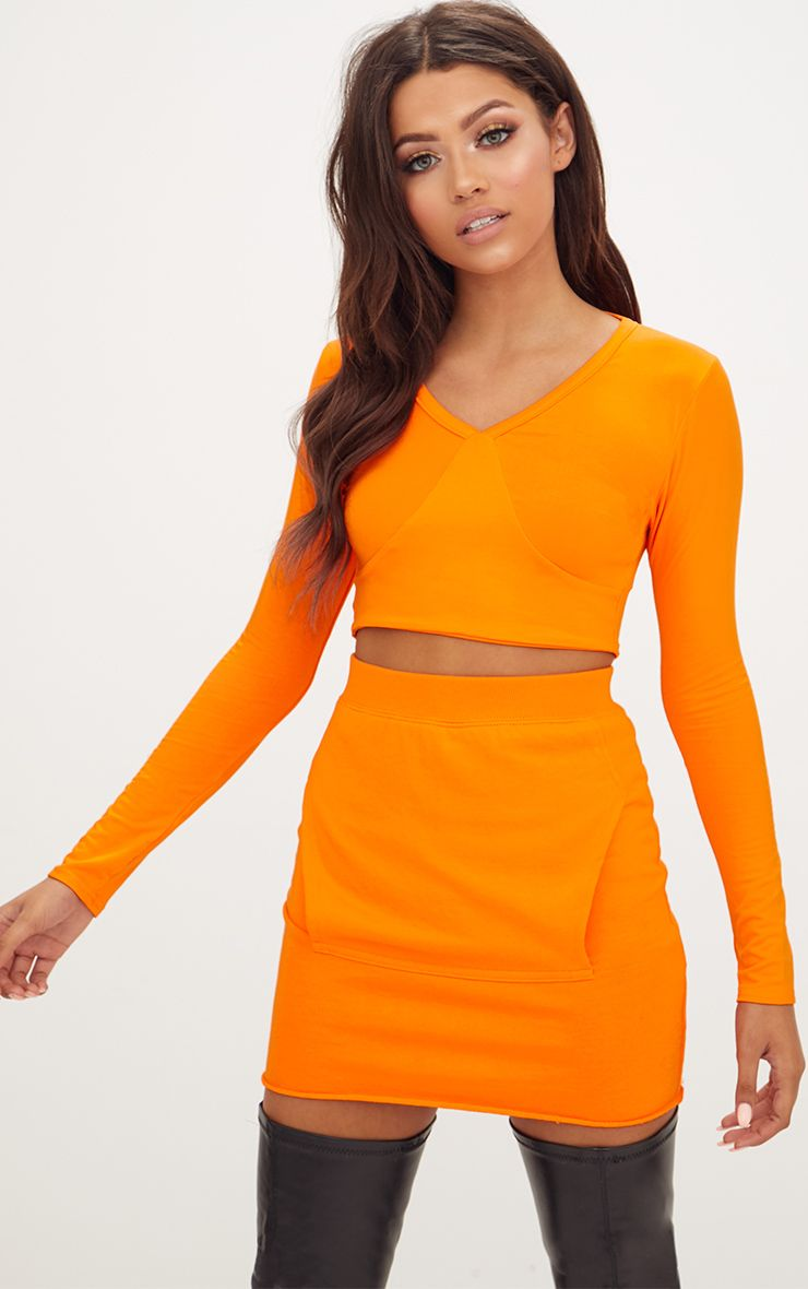 Orange Jersey V Neck Longsleeve Crop Top