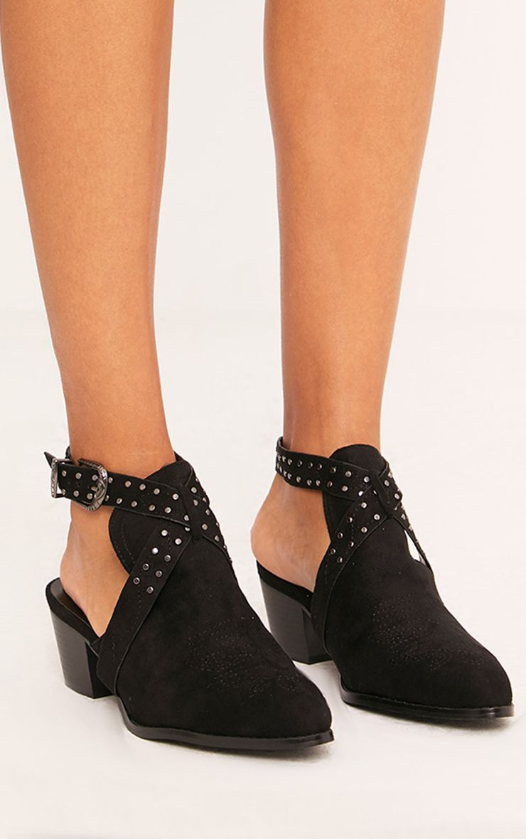 Demmia Black Open Heel Studded Western Boots