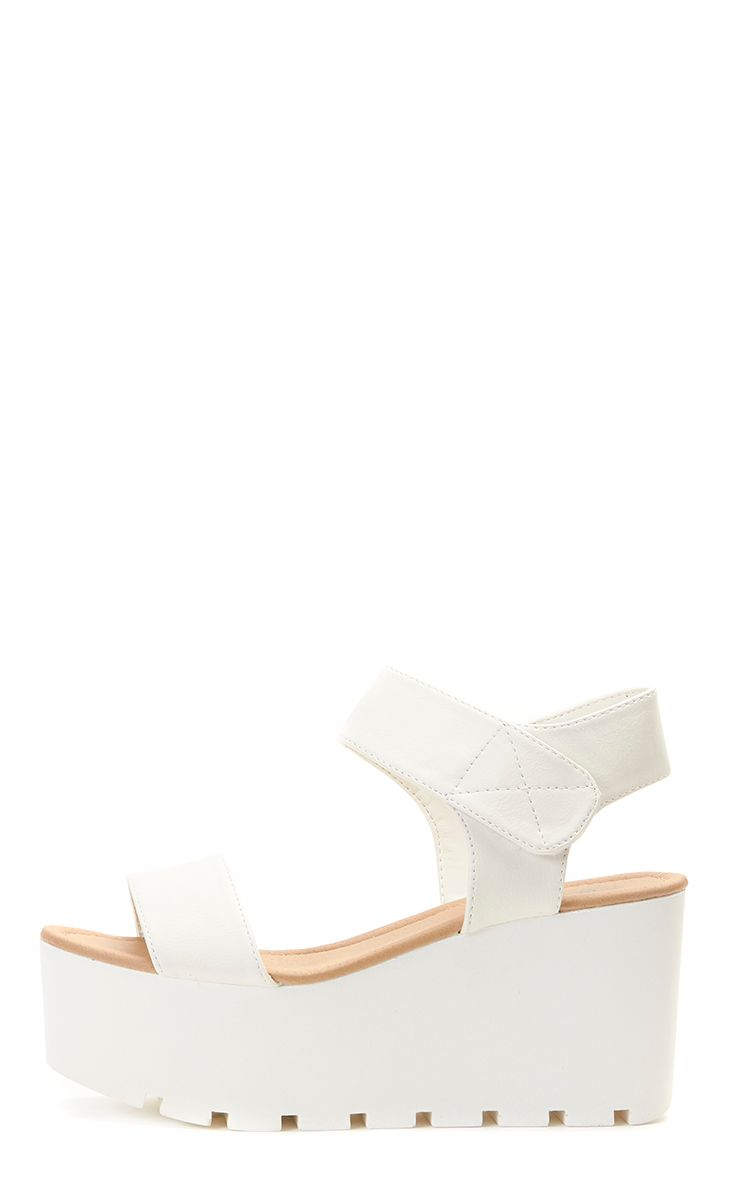 Anilda White Faux Leather Flatform Cleated Sandal 1