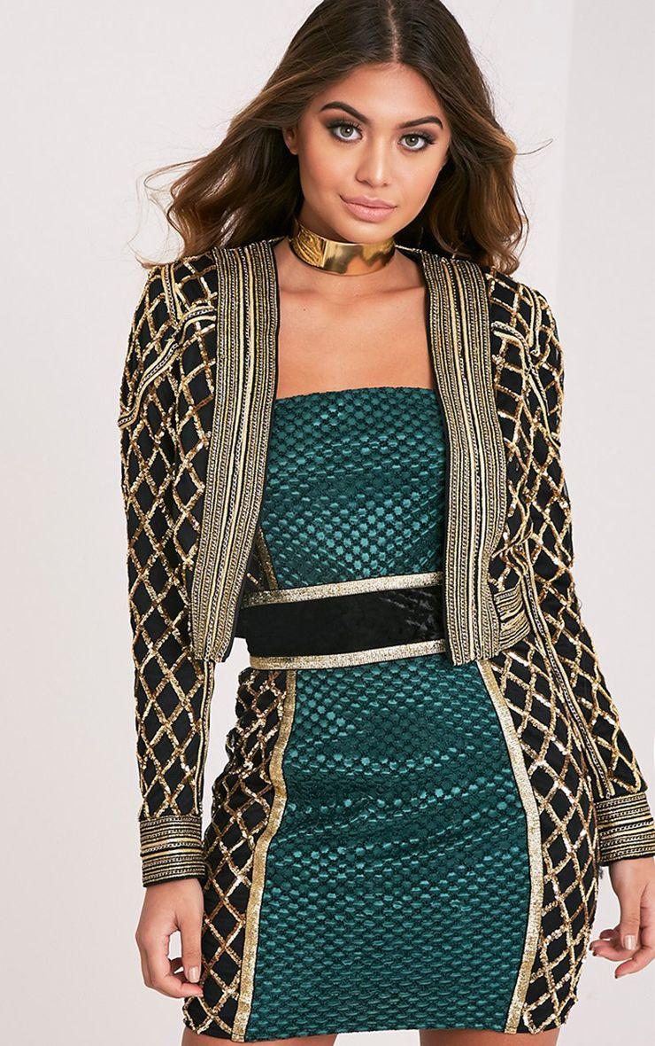 Malia Black Sequin Embellished Crop Trophy Jacket