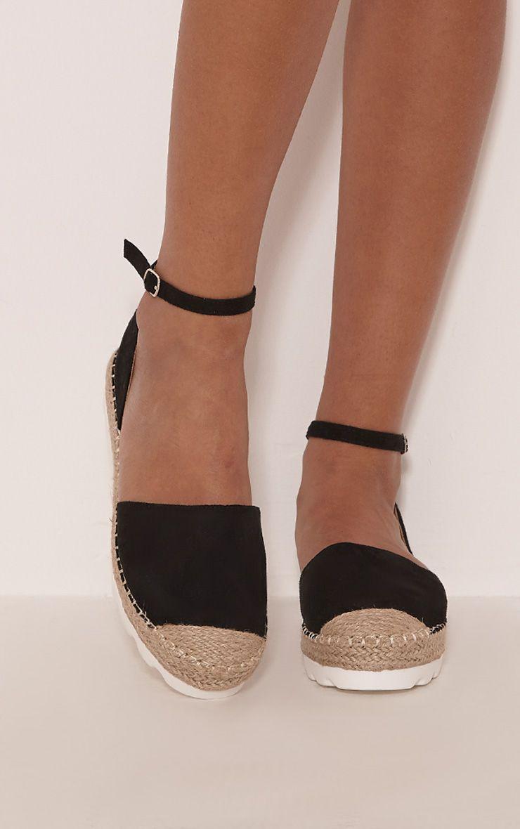 Kamila Black Flatform Espadrille Sandals