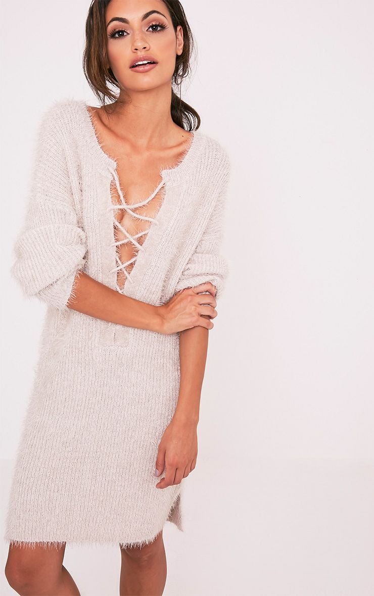 Floraline Grey Lace Up Mohair Knit Jumper Dress 1