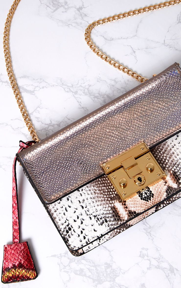 Reigan Metallic Snake Padlock Bag