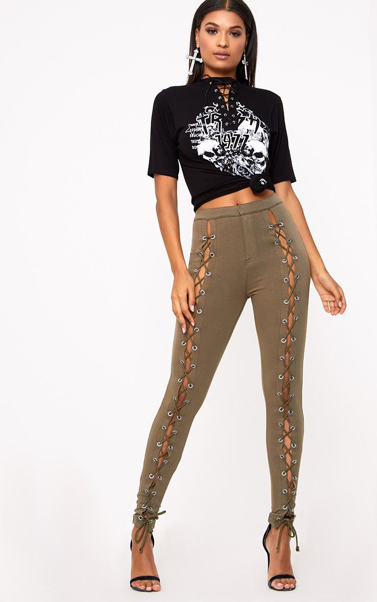 Khaki Front Lace Up Skinny Trousers -AUS