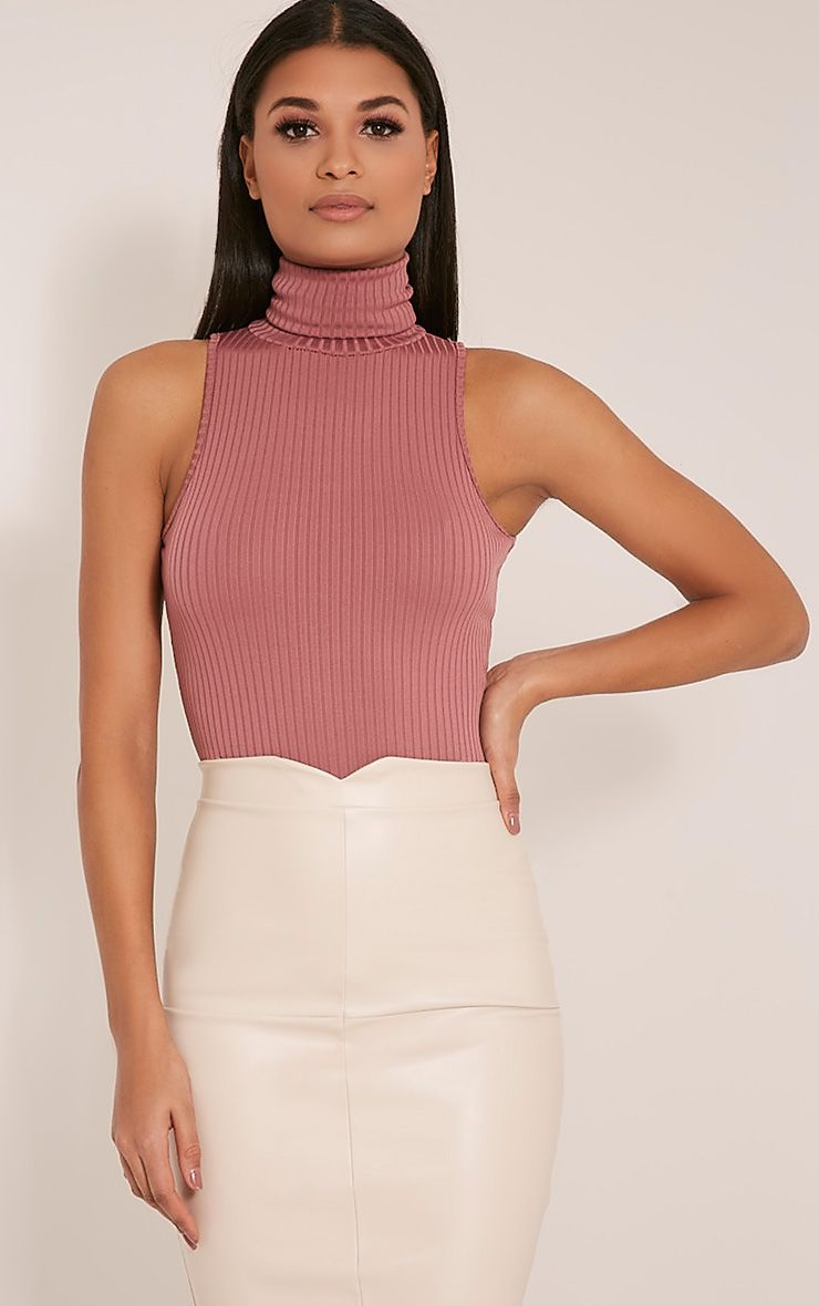 Lydia Rose Ribbed Turtle Neck Bodysuit 1