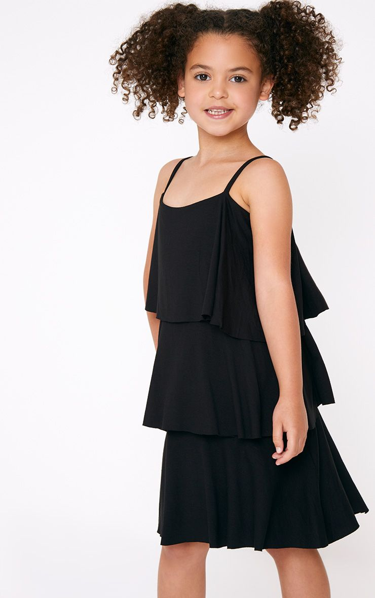 Strappy Layered Black Frill Dress