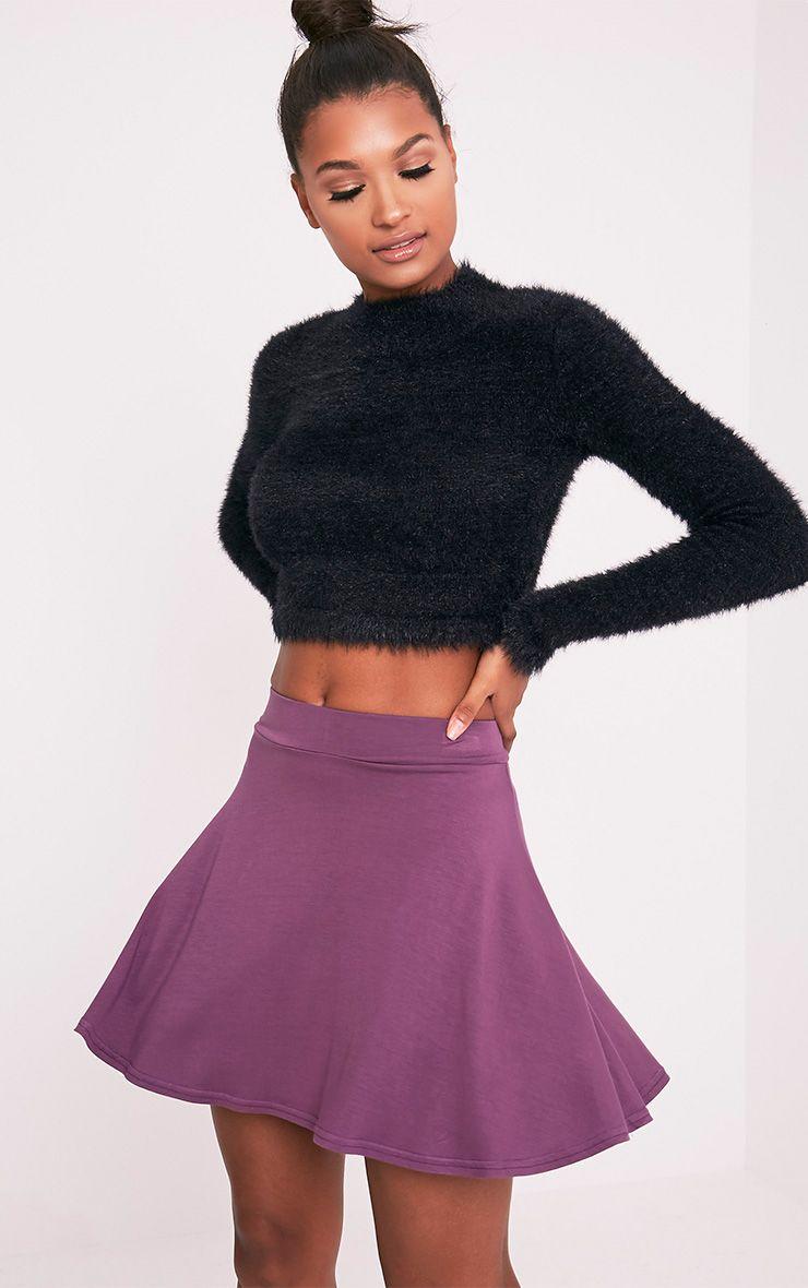 Basic Aubergine Skater Skirt