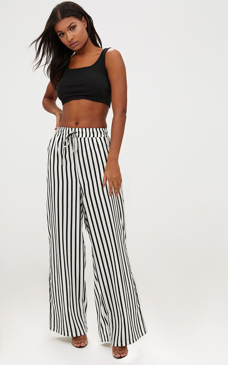 Cream Stripe Casual Wide Leg Trousers