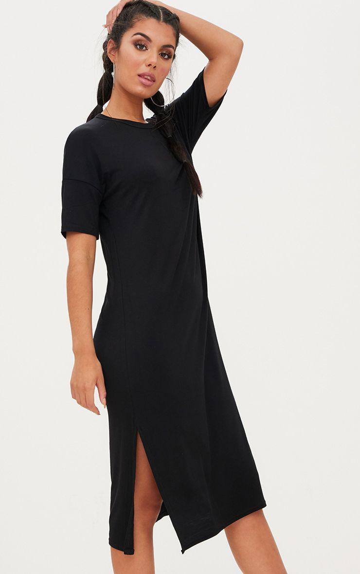 robe t shirt longue en jersey noir manches courtes robes. Black Bedroom Furniture Sets. Home Design Ideas
