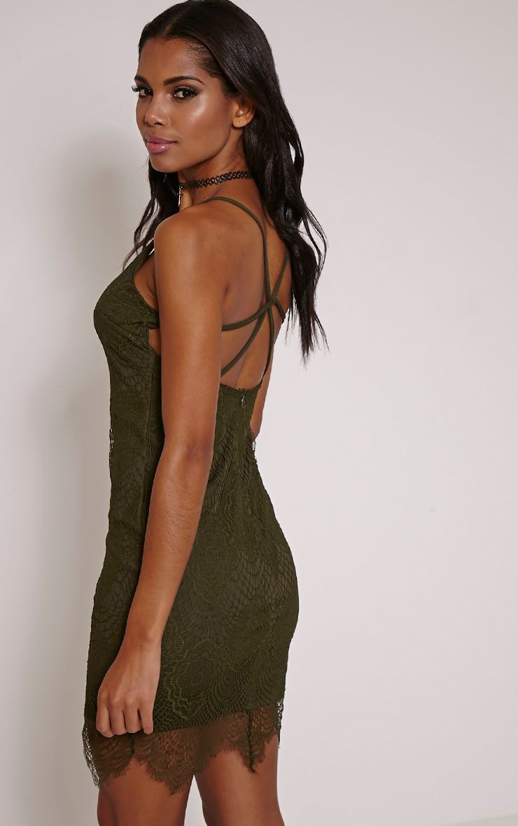 Luca Khaki Scalloped Lace Halterneck Bodycon Dress