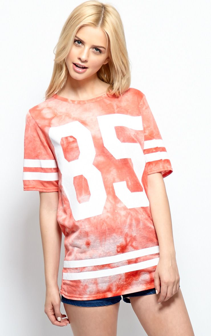Product photo of Luci red tie dye 85 sports tee red