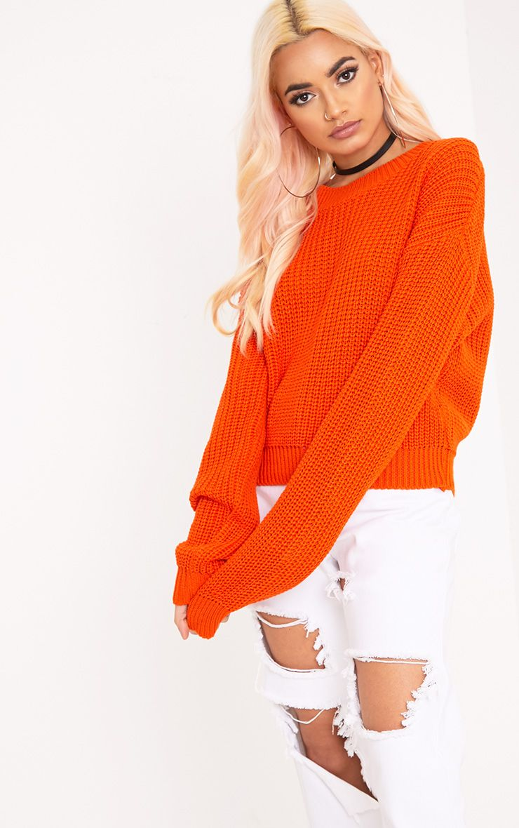 Cara Orange Cropped Knit Jumper