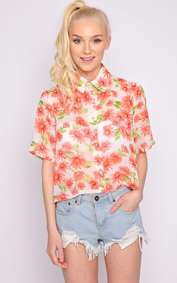 Reyna Multi Floral Cropped Shirt  1