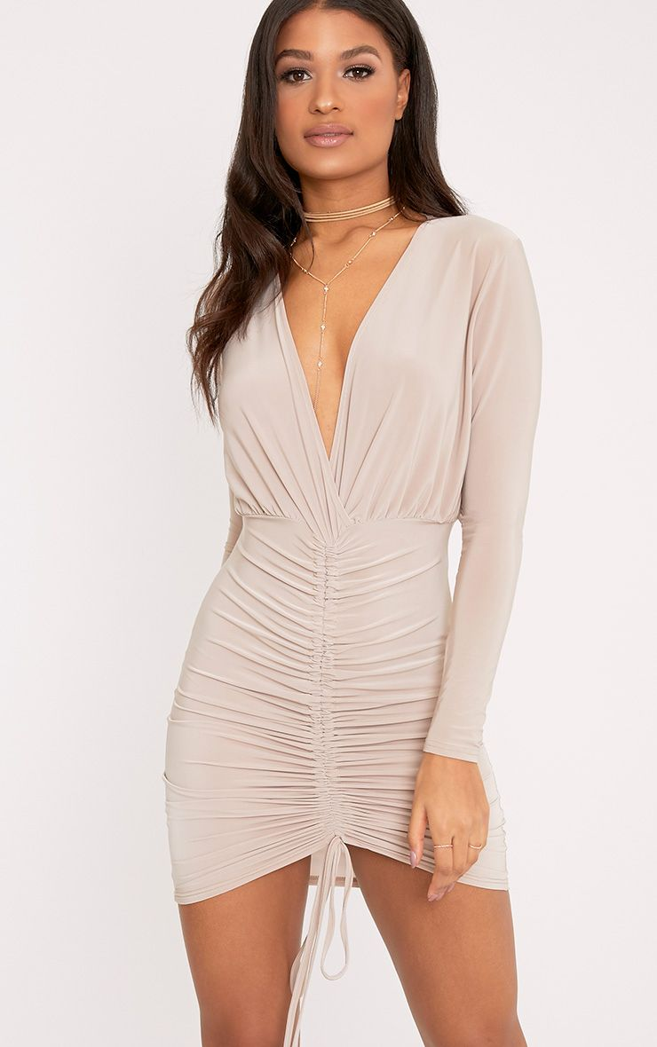Oriana Nude Plunge Ruched Front Bodycon Dress