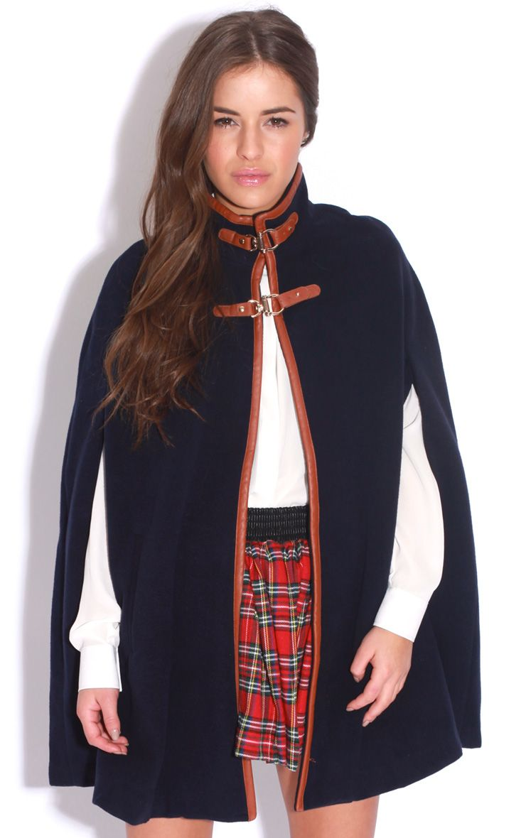 Renata Navy Buckle Cape Coat 1
