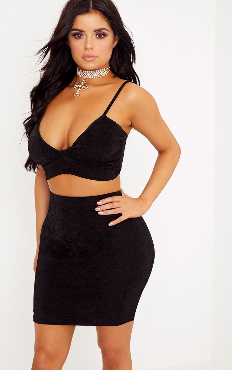 Shape Lyndsey Black Slinky Mini Skirt Co-Ord