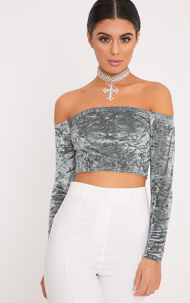 Chrissi Grey Crushed Velvet Bardot Crop Top  1