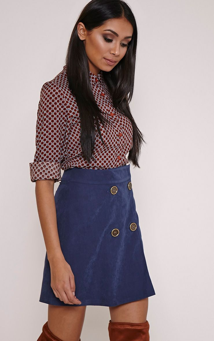 May Blue Double Button Mini Skirt 1