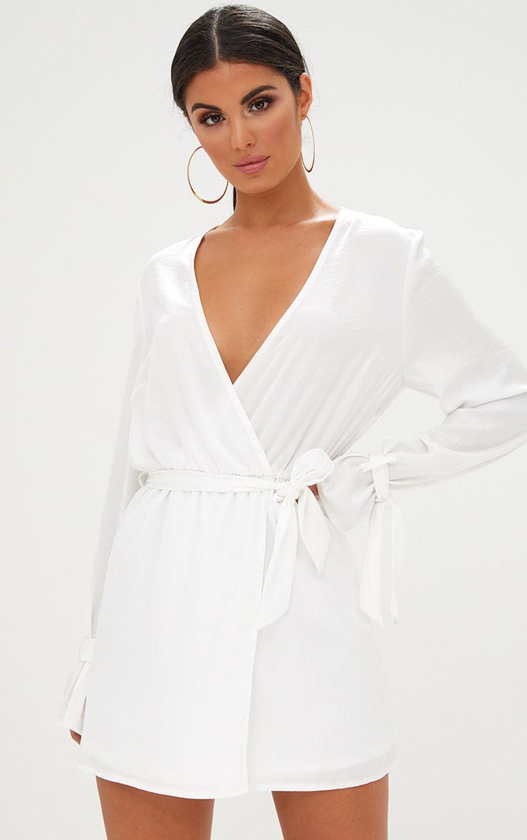 White Satin Long Dress