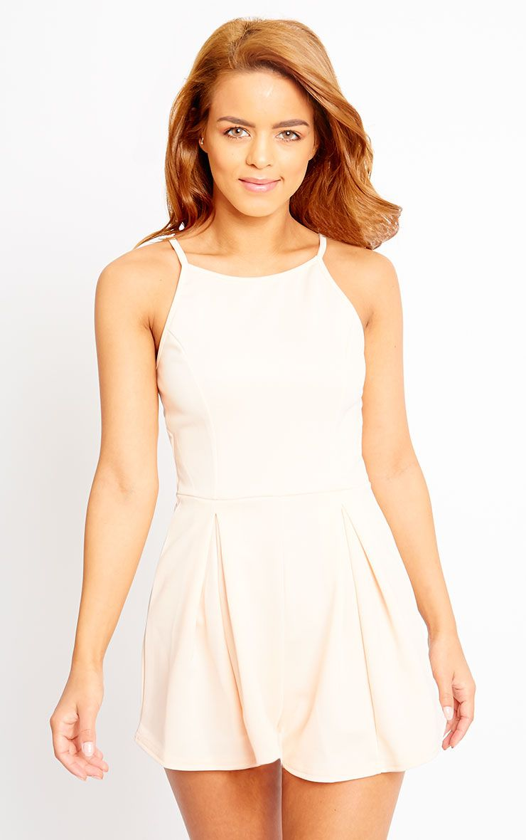 Alaula Nude Pleat Front Playsuit 1