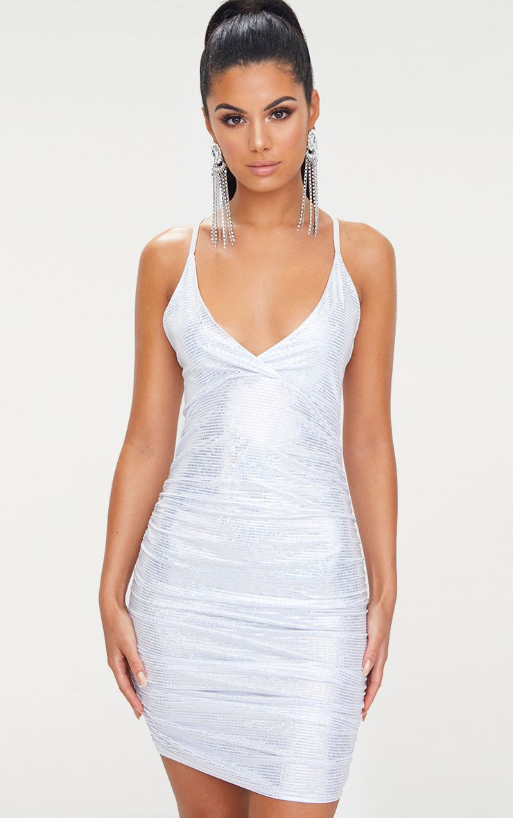 Silver Sequin Printed Plunge Ruched Bodycon Dress