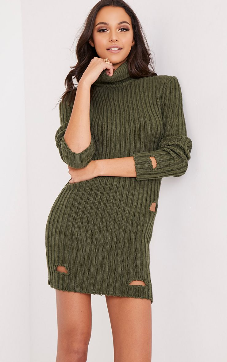 Roschan Khaki Distressed High Neck Knitted Mini Dress