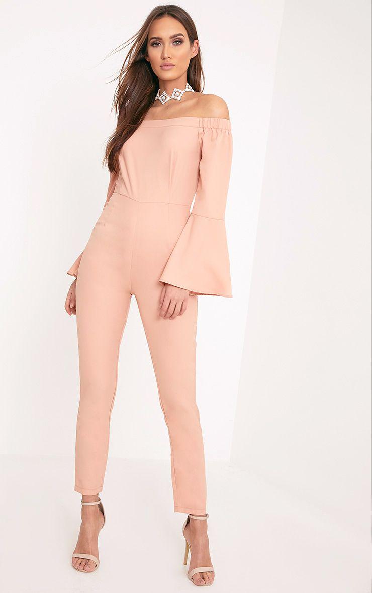 Rosa Nude Bardot Bell Sleeve Jumpsuit