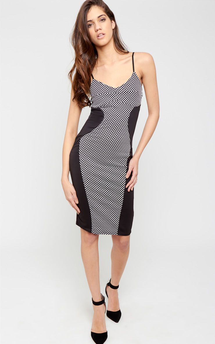 Chaya Monochrome Spot Illusion Midi Dress 1