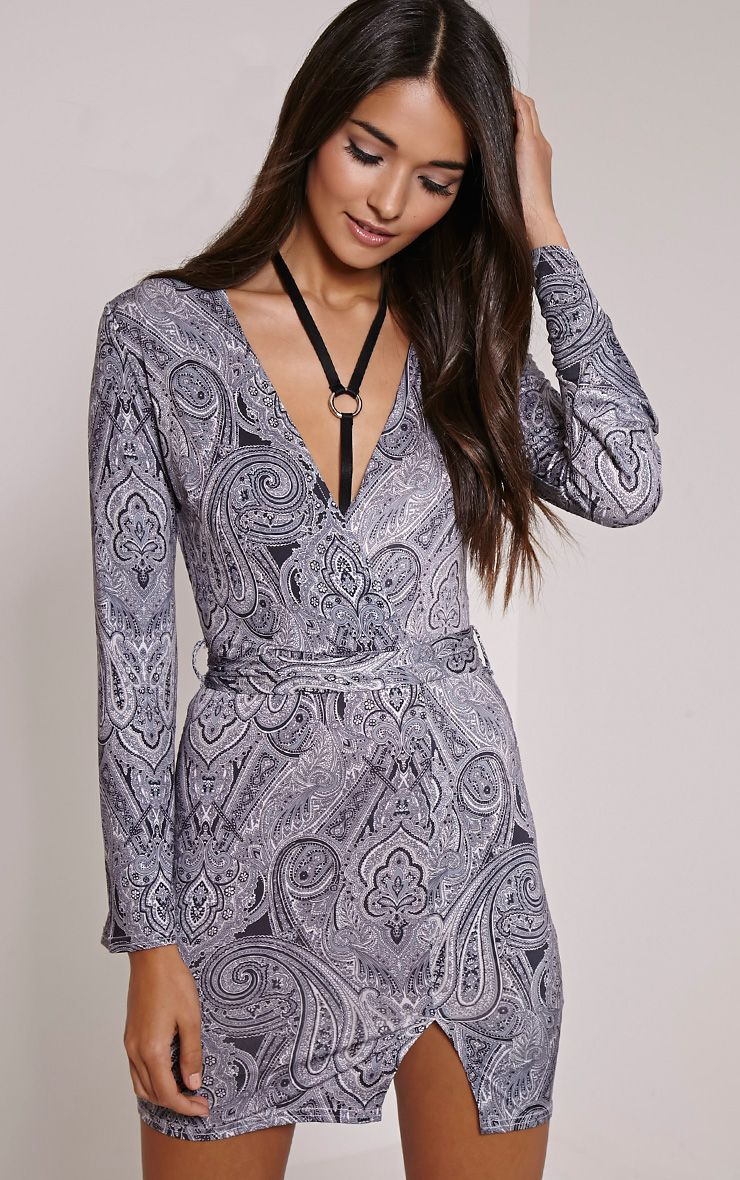 Pyla Paisley Print Wrap Front Tie Waist Mini Dress 1