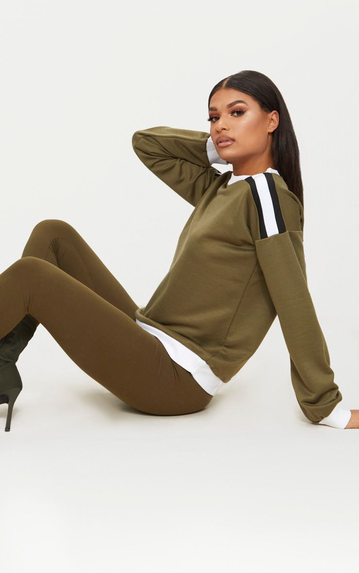 Khaki Triple Shoulder Stipe Oversized Sweater