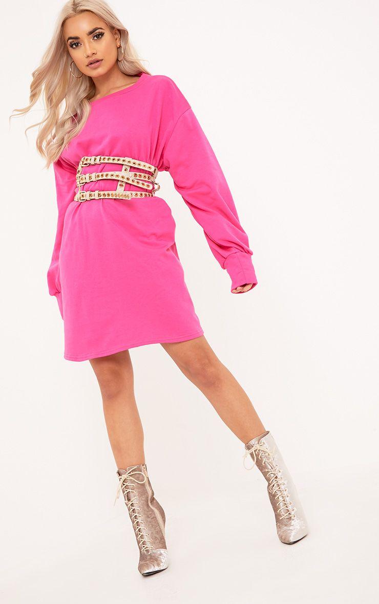 Sianna Fuchsia Oversized Sweater Dress