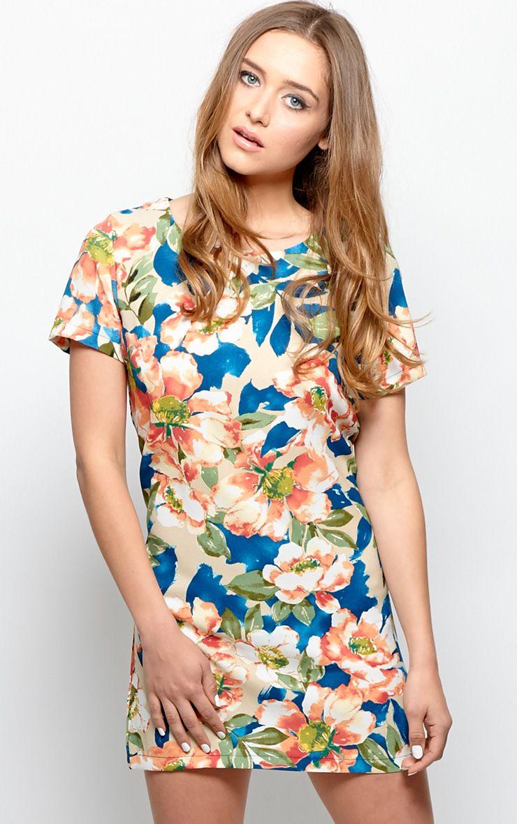 Zahra Orange Floral Shift Dress 1